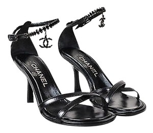 Chanel Leather Crystal Black Sandals