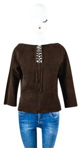 Herms Suede Leather Paneled Perforated Lace Up Long Sleeve Top Brown