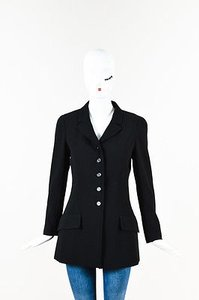 Chanel Vintage Boutique Cc Button Long Structured Black Jacket