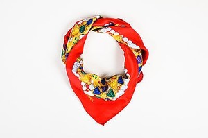 Chanel Chanel Red Gold Green Multicolor Jewel Print Scarf