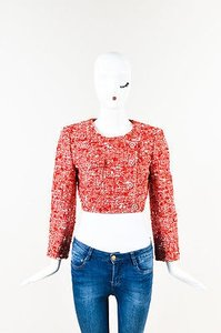 Chanel White Tweed Double Red Jacket