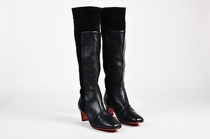 Christian Louboutin Leather Suede Panel Square Toe Tall Black Boots