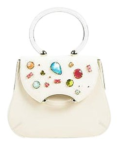 Charlotte Olympia Leather Bejeweled Newman Frame Flap Satchel in Cream