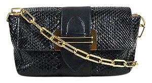 Chloé Chloe Python Leather Gold Tone Chain Link Strap Front Flap Shoulder Bag