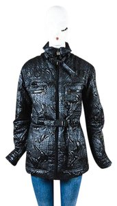 Chanel Textured Multi Pocket Three Prong Clasp Belted Ls Coat
