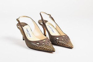 Jimmy Choo Brown Embossed Brown, Tan Pumps