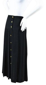 Chanel Crepe Pleated Gold Tone Front Skirt Black