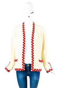 Chanel Vintage Boutique Red Knit Embroidered Cardigan Jacket Sweater