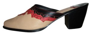 Sharif Leather Studded Western tan, red & black Mules