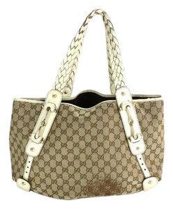 Gucci Hobo Pelham Jockey Horsebit Abbey Tote in Beige x White