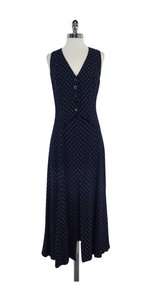 Giorgio Armani Navy Teal White Print Dress