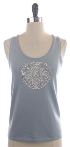 Tory Burch Silver Sequin Wool Knit Top Blue