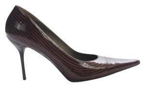 Others Follow Striped Patent Leather Brown Pumps