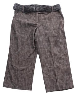 Larry Levine Belted Cropped Capri/Cropped Pants Brown