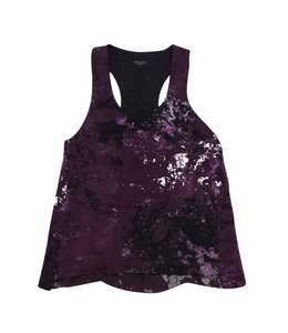 Rag & Bone Purple Abstract Print Silk Top