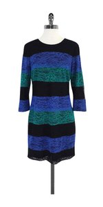 Ali Ro short dress Black Blue & Teal Striped Lace on Tradesy
