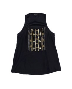 Nanette Lepore Black Silk Embellished Top