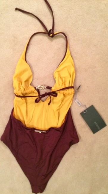 Sportmax Designer swimsuit with open back and hardware detail in front
