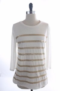 Ellen Tracy Gold Sequin Striped Top White