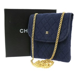 Chanel Navy Micro Bag Pendant Necklace