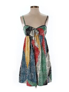 BCBGMAXAZRIA short dress Silk Print Sleeveless Color-blocking on Tradesy