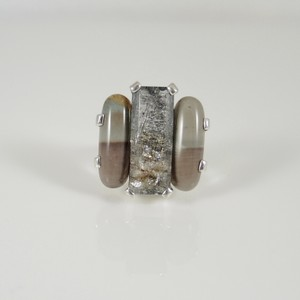Stephen Dweck Stephen Dweck Sterling Silver Natural Stone Three Stone Ring