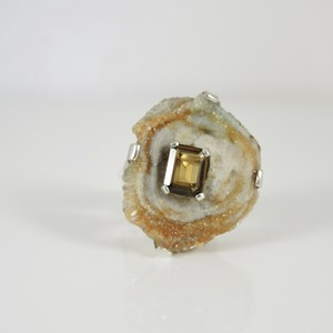 Stephen Dweck Stephen Dweck Sterling Silver Rock Geode Slice Smoky Quartz Ring