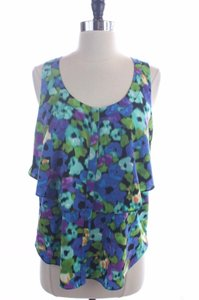 Cynthia Steffe Watercolor Tiered Sleeveless Top Blue