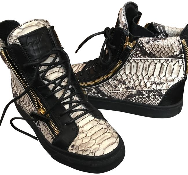 Item - Black and White Croc-stamped Double-zip Sneakers Size US 7 Regular (M, B)
