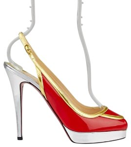 Christian Louboutin Red/Gold/Silver Platforms