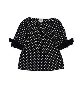 MILLY Black & White Polka Dot Short Sleeve Top