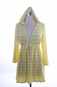 Ella Moss Striped Hooded Coverup Top Yellow