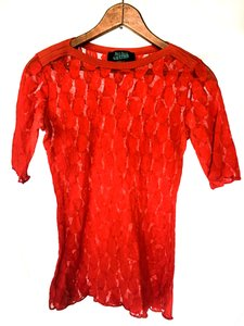 Jean-Paul Gaultier Red Lace Lycra Jersey Lace T Shirt