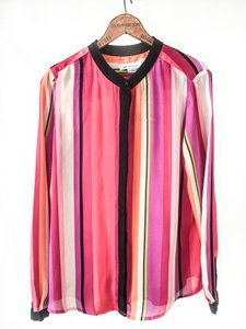 Liz Claiborne Bold Stripe Trendy High Fashion Top Pink Purple
