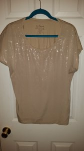Chico's Sparkle Studs Chico Night Out Date Night Top Cream/Light Tan