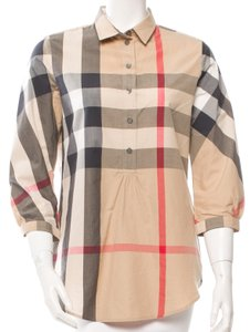 Burberry Nova Check Cotton Plaid Longsleeve Exploded Check Top Beige, White, Black