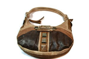 Guess Ontario Vegan Leather Handbag Satchel in Tri Color Browns
