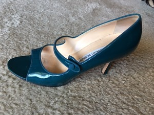 Manolo Blahnik Teal Patent Pumps