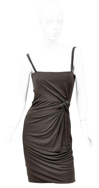 Item - Brown Jersey New with Jeweled Bow Pin Knee Length Formal Dress Size 4 (S)