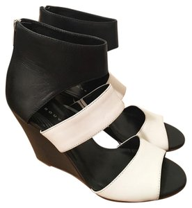 Trouvé Ankle Black & White Ankle Cuff Wedges