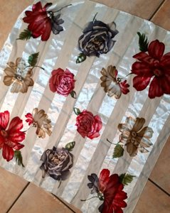 Red White Gray Rose Print Silk Scarf P2263