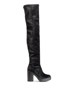 H&M Crushed Velvet Velvet Rubber Thigh High Platform Black Boots