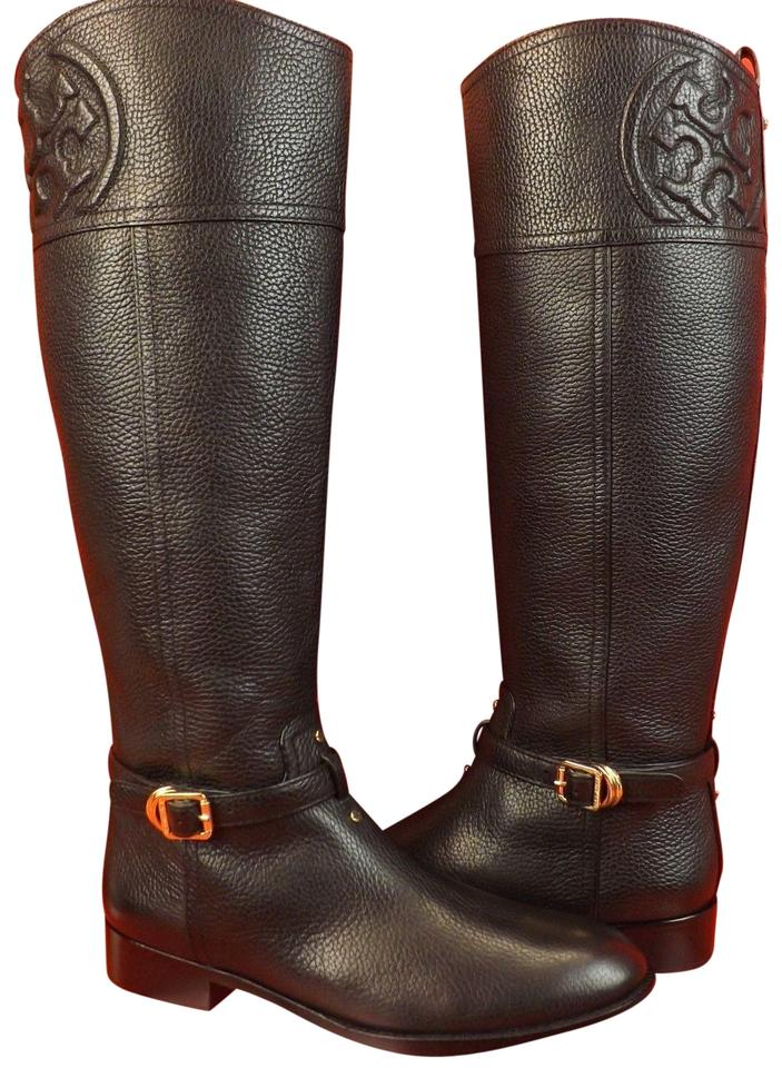 2e703f62af46 Tory Burch Black Marlene Tumbled Leather Reva Tall Riding Boots Booties