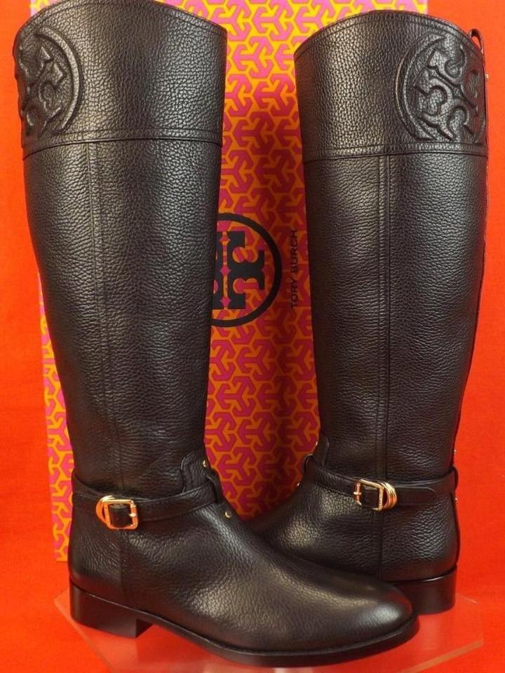 f042bbeef03 Tory Burch Black Marlene Tumbled Leather Reva Tall Riding Boots ...