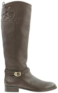 Tory Burch Dark Belted Buckle Calfskin Knee High Brown Boots