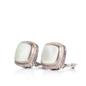 David Yurman Sterling Silver & Mother of Pearl Square Post