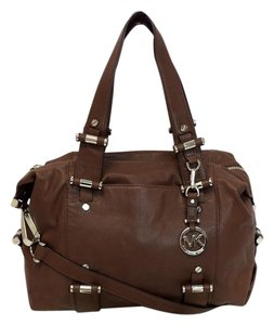 Michael Kors Gibson Large Leather Satchel in Brown