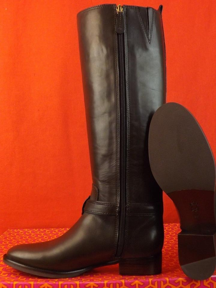 5ad28c637 Tory Burch Brown Bristol Coconut Leather Gold Reva Tall Harness Riding Boots  Booties Size US 8.5 Regular (M