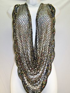 Other Vintage 80s Boho Indie Hand Beaded Colorful Wrap Shawl Capelet