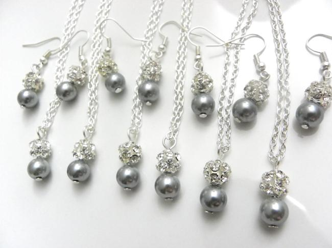 Item - Grey Pink Cream White Of 6 Necklaces and Earrings Of Bridesmaid Necklaces Jewelry Set